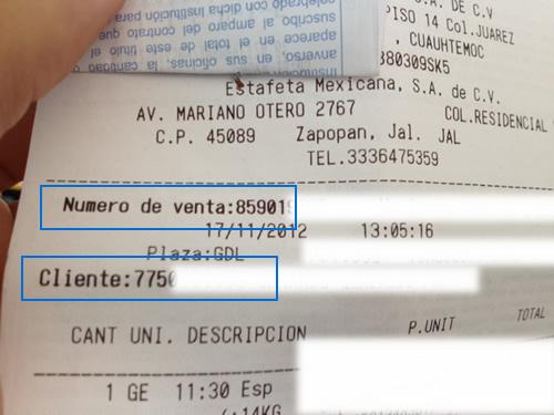 Número de Venta y Cliente en Ticket de Estafeta