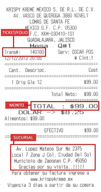 Como sacar facturas electrónicas de Kryspy Kreme México